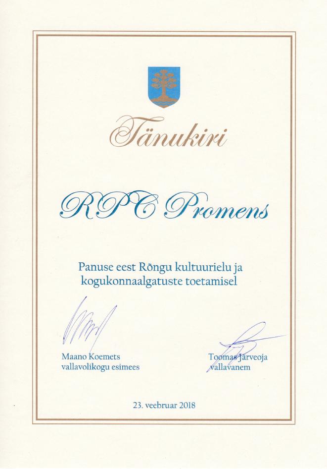 Vald tunnustas RPC Promens Rõngu tehast tänukirjaga